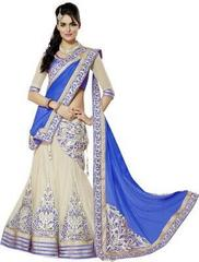 Blue Color Embroidered Georgette And Net Designer Lehenga Choli