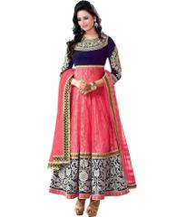 Pink Embroidred Net Brasso Designer Dress Material