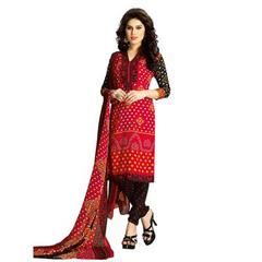 Red Color Faux Cotton Printed Dress materials