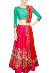 Pink Color Embroidered Benglori Silk Designer Lehenga choli