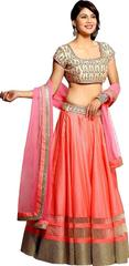 Pink Color Embroidered Benglori Silk Bridal Lehenga choli