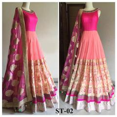 Pink Color Embroidered Benglori Silk Designer Salwar Suits
