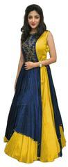 Yellow Color Tafeta Silk Indo Westurn Style Salwar Suit