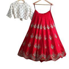 Red Color Banglori Silk Embroidered Lehenga Choli