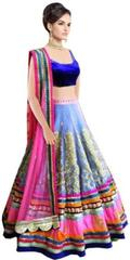 Blue Color Embroidered Bridal Banglori Silk With Velvet Lehenga Choli