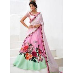 Women's Designer Pink Color Digital Printed Lehenga Choli
