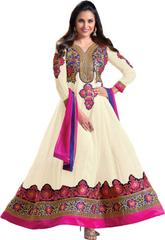 Off White Color Embroidered Designer Semi Sticched Anarkali Salwar Suits