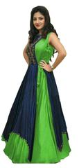 Green Color Tafeta Silk Indo Westurn Style Salwar Suit
