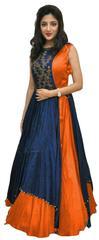 Orange Color Tafeta Silk Indo Westurn Style Salwar Suit