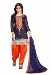 Navy Blue Color Embroidered Self Design Chanderi Dress Materials