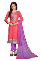 Pink Color Embroidered designer Chanderi Dress Materials
