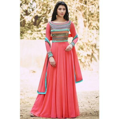 Georgette Peach Embroidered Semi Stitched Long Anarkali Suit
