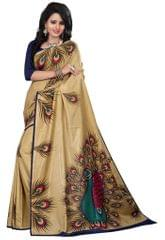 Beige Color Silk Printed Saree