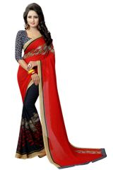Red Color Georgette Printed saree