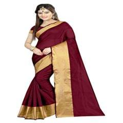 Polly Cotton Maroon Color Plain Saree