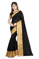 Polly Cotton Black Color Plain Saree