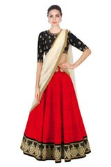 Red Color Embroidered Designer Banglori Silk Lehenga Choli