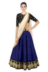 Navy blue Color Embroidered Designer Banglori Silk Lehenga Choli
