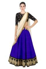 Royal blue Color Embroidered Designer Banglori Silk Lehenga Choli