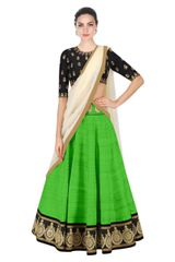 Green Color Embroidered Designer Banglori Silk Lehenga Choli