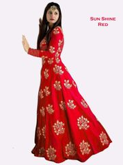 Red Color Banglori Silk Embroiderd Designer Gown