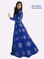 Royal Blue Color Banglori Silk Embroiderd Designer Gown