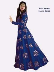 Navy Blue Color Banglori Silk Embroiderd Designer Gown