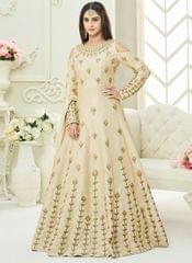 Cream Colour Embroidered Benglori Silk Designer Goun