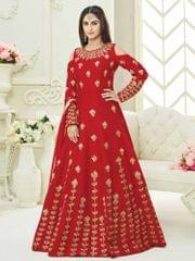 Red Colour Embroidered Benglori Silk Designer Goun