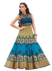 Multicolor Colour Embroidered Benglori Silk Designer Goun