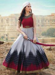 Multicolour Banglori Satin Silk Designer Gown