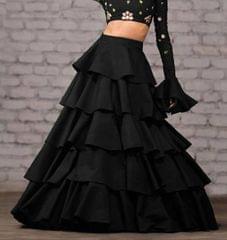 Black Color Taffeta Silk Design Skirt