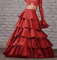 maroon Color Taffeta Silk Design Skirt