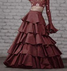 Cofee Color Taffeta Silk Design Skirt