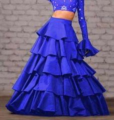 Royal Blue Color Taffeta Silk Design Skirt