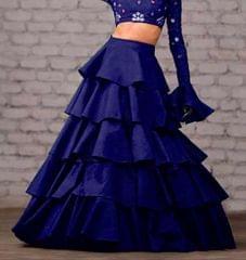 Navy Blue Color Taffeta Silk Design Skirt