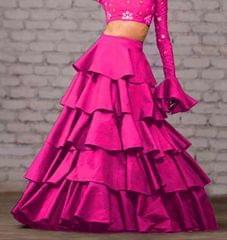 Pink Color Taffeta Silk Design Skirt