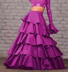 Purple Color Taffeta Silk Design Skirt