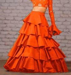 Orange Color Taffeta Silk Design Skirt