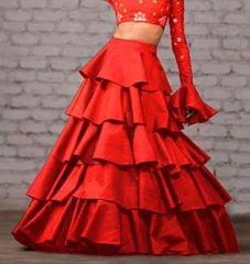Red Color Taffeta Silk Design Skirt
