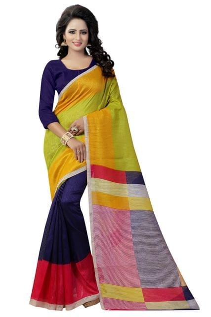 Multicolor German Silk Printed Design Saree