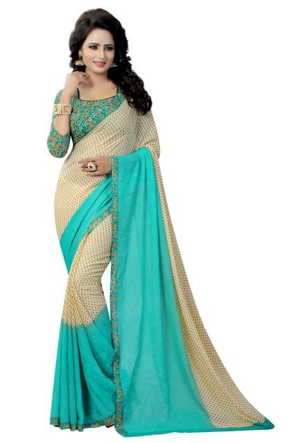 Rama Color Georgette Printed Design Saree