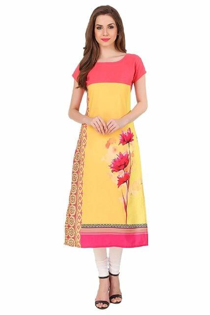Yellow Color Digital Printed American Crepe Kurti