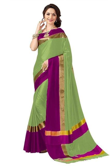 Parrot And Pink Color Solid Fashion Bollywood Style Polly Cotton Silk Saree