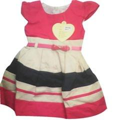 Kids Red,Black And Cream Stripes Dress (0-1 Year)