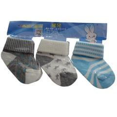 Black, Grey, Blue Baby's Socks 3 Pairs In One Packet (1month-1yr)
