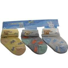 Yellow,Grey,White,Coloured Baby's Socks 3 Pairs In One Packet (1month-1yr)