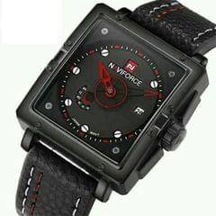 Naviforce Black Leather Men's Watch