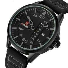 Black Naviforce Leather Men's Watch