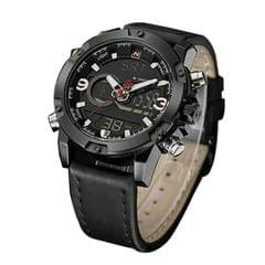 Naviforce Black Leather Watch For Men's